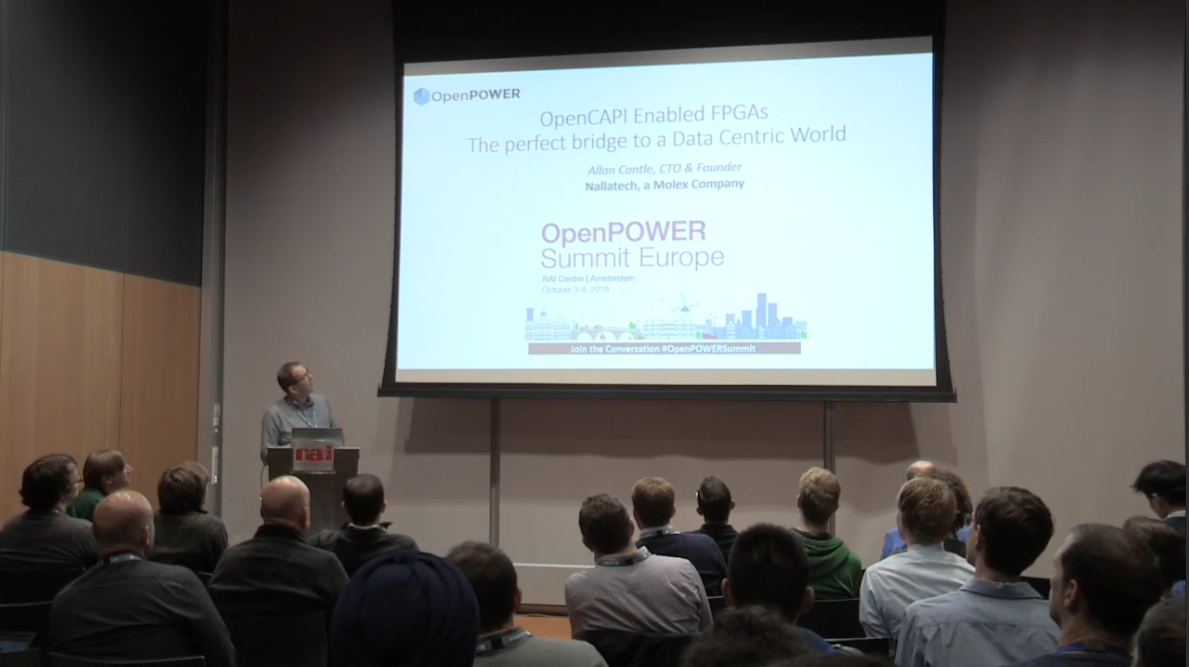Allan Cantle speaking at the OpenPower Summit Europe about OpenCAPI Enabled FPGAs